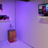 "Installation shot of ""SLOWEDDOWN80SPOPWITHABEAT"" and ""IMSOWETMIAMAVAPE.TV"""