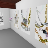 Second Life Apple Chain triptych installation